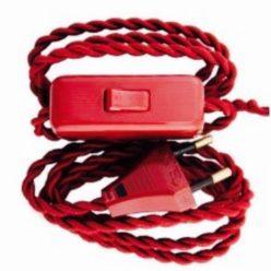 Cableado para lámpara con cable trenzado en color rojo
