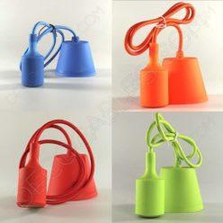 Lámparas colgantes de silicona en suspensión con cable textil a juego en varios colores