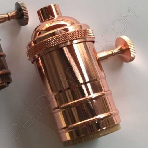 Portalámparas vintage con interruptor cobre