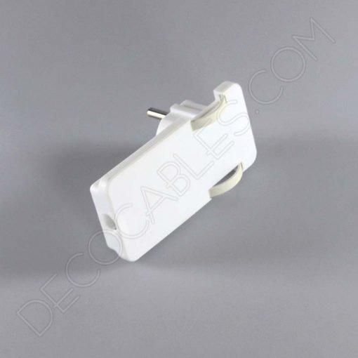Clavija plana blanca con toma de tierra especial para detrás de los muebles