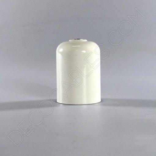 Cubre portalamparas exterior metálico decorativo en color blanco