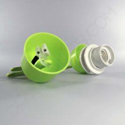 Lámparas colgantes para pantallas en suspensión con cable textil a juego en color verde