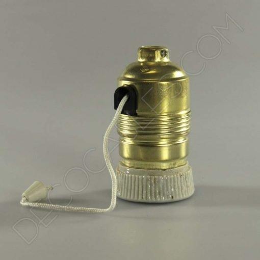 Portalámparas de latón con interuptor tirado de cuerda y arandela cerámica