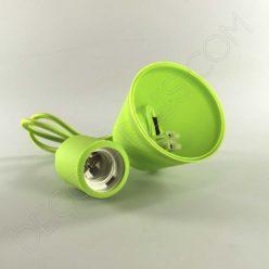 Lámparas colgantes de silicona en suspensión con cable textil a juego en color verde