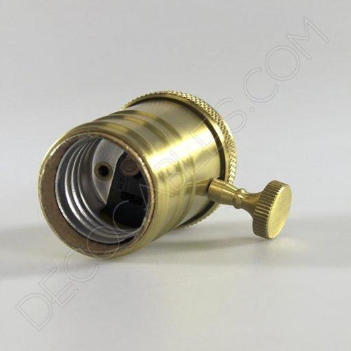 Portalámparas estilo vintage con interruptor en color dorado
