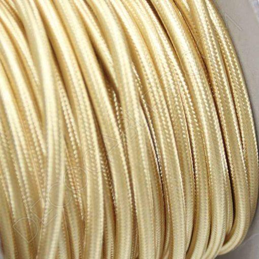 Cable eléctrico textil redondo en color dorado