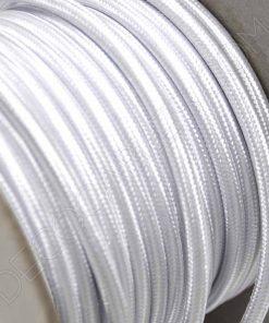 Cable eléctrico redondo de tela de color blanco