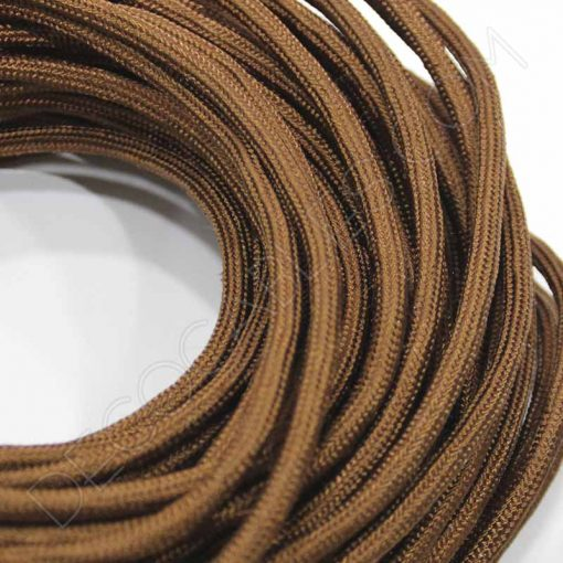 Cable eléctrico redondo de tela de color marrón