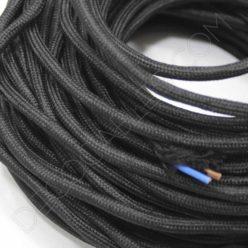 Cable eléctrico redondo de tela de color negro