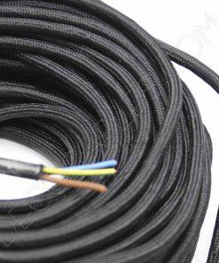 Cable eléctrico redondo de tela de color negro de 3 hilos