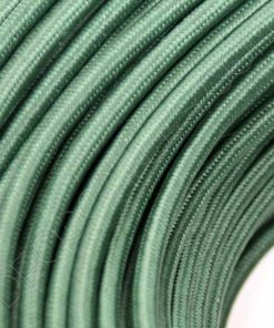 Cable eléctrico redondo de tela de color verde oscuro