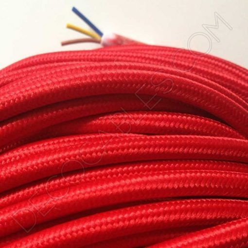 Cable eléctrico redondo de tela de color rojo de 3 hilos