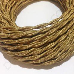 Cable eléctrico trenzado de color dorado
