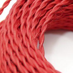 Cable eléctrico trenzado en color rojo