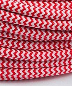 Cable eléctrico redondo de tela de color rojo y blanco en zig-zag