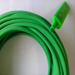 Cable eléctrico redondo de tela de color verde fosforescente