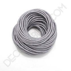 Cable eléctrico redondo de tela de color gris