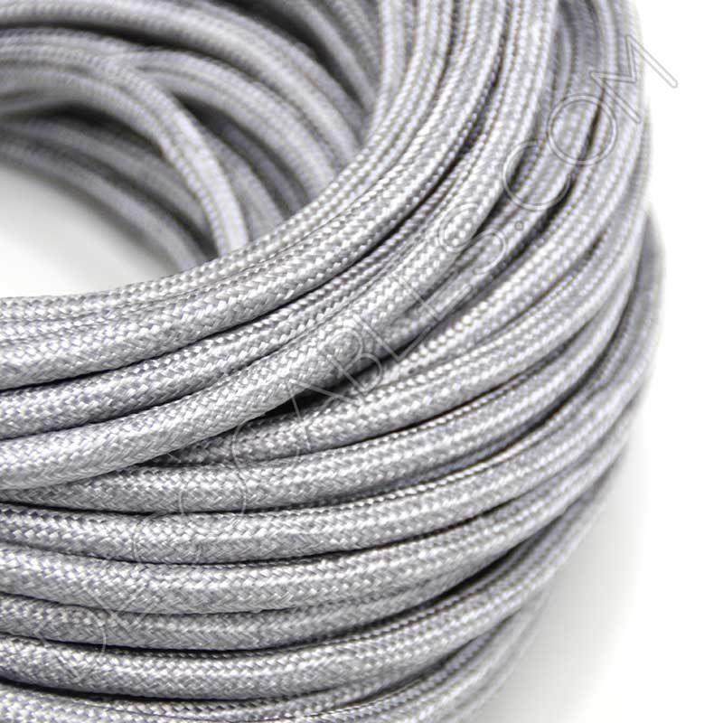 Cable el ctrico redondo forrado de tela cable textil gris for Cables telefonillo colores