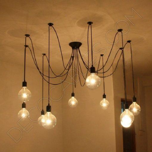 Lámpara araña de techo de color negra de 10 brazos