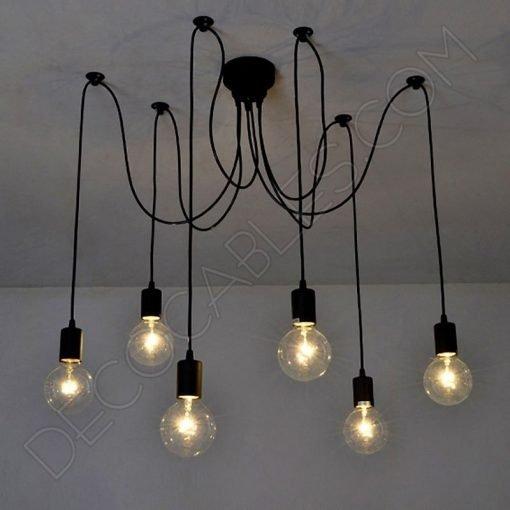Lámpara araña de techo de color negra de 6 brazos