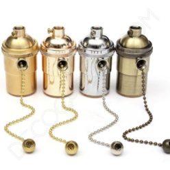 Portalámparas estilo vintage metálico con interruptor de cadena, varios colores