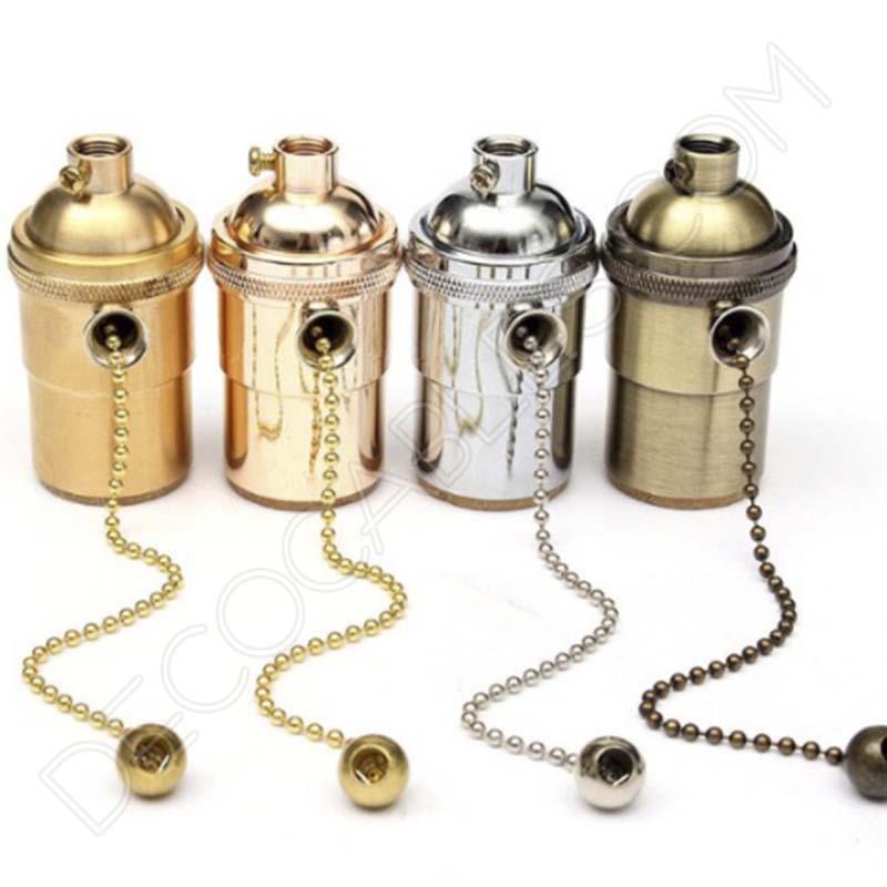 Portal mparas vintage met lico con cadena casquillo e27 - Limpiar laton dorado ...