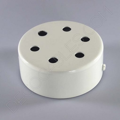 Soporte florón de techo para lámpara blanco de 6 salidas