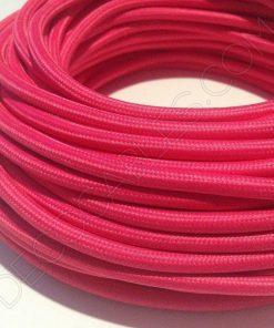 Cable eléctrico redondo de tela de color rosa fucsia fosforescente