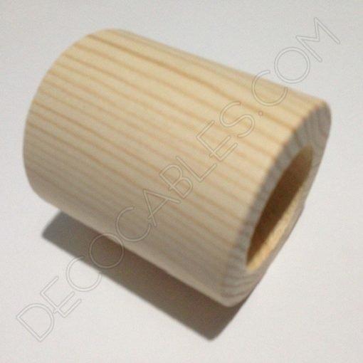 Cubre portalamparas exterior en madera decorativo modelo cilindro