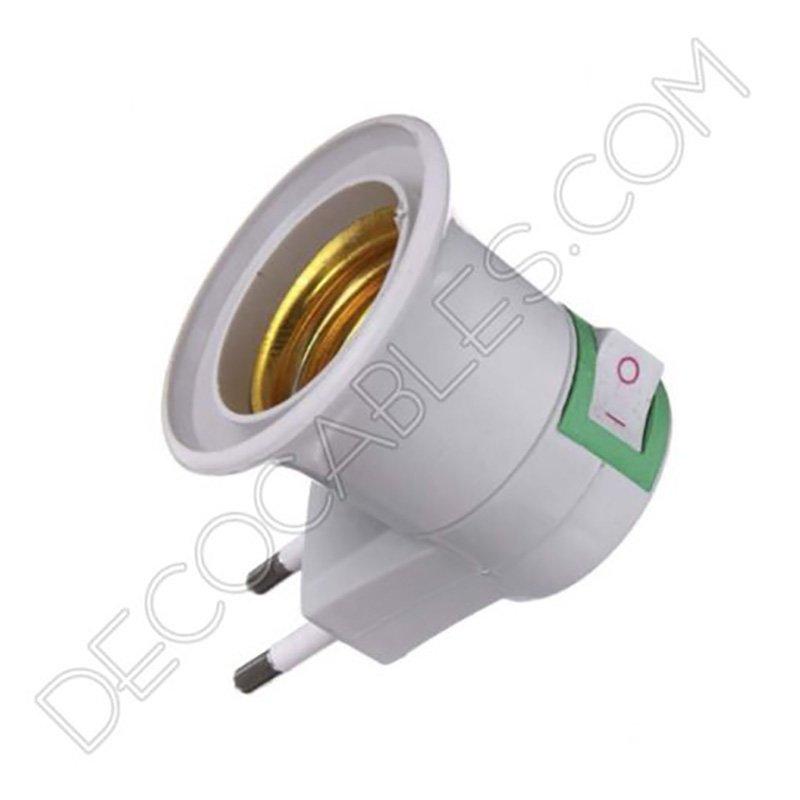 Portal mparas con interruptor y clavija fija casquillo e27 - Enchufe y interruptor ...