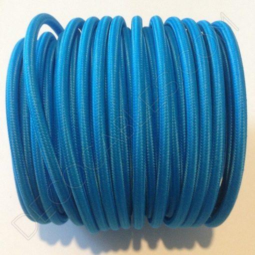 Cable eléctrico redondo de tela de color azul celeste