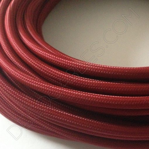 Cable eléctrico redondo de tela de color granate