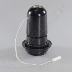 Portalámparas negro de baquelita para pantallas con cordón interruptor