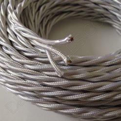 Cable eléctrico trenzado tela blanco 3 hilos