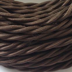 Cable eléctrico trenzado tela marrón 3 hilos