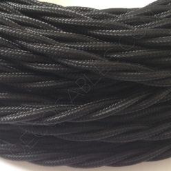 Cable eléctrico trenzado de color negro de 3 hilos
