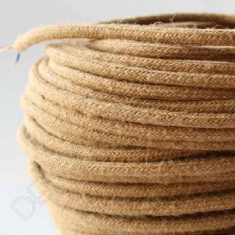 Cable elctrico redondo de cuerda de caamo de 2 hilos