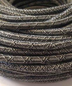 Cable eléctrico redondo de tela de color gris y blanco en zig-zag jaspeado