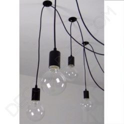 Lámpara araña de techo de color negra de 4 brazos