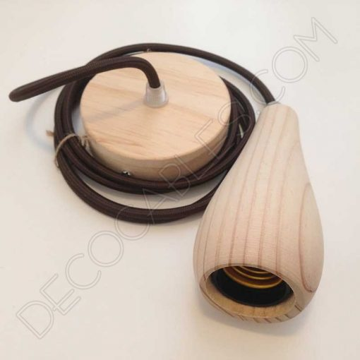 Lámpara colgante en madera con cable textil modelo botella