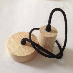Lámpara colgante en madera con cable textil modelo cilindro