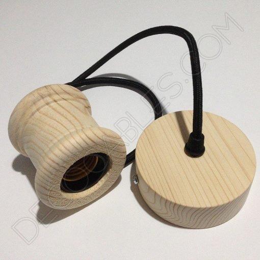 Lámpara colgante en madera con cable textil modelo columna