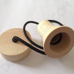 Lámpara colgante en madera con cable textil modelo foco