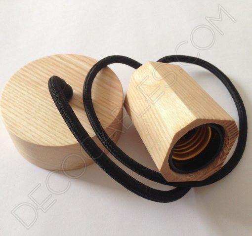 Lámpara colgante en madera con cable textil modelo biselado