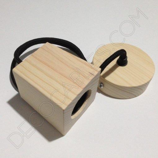 Lámpara colgante en madera con cable textil modelo trapecio