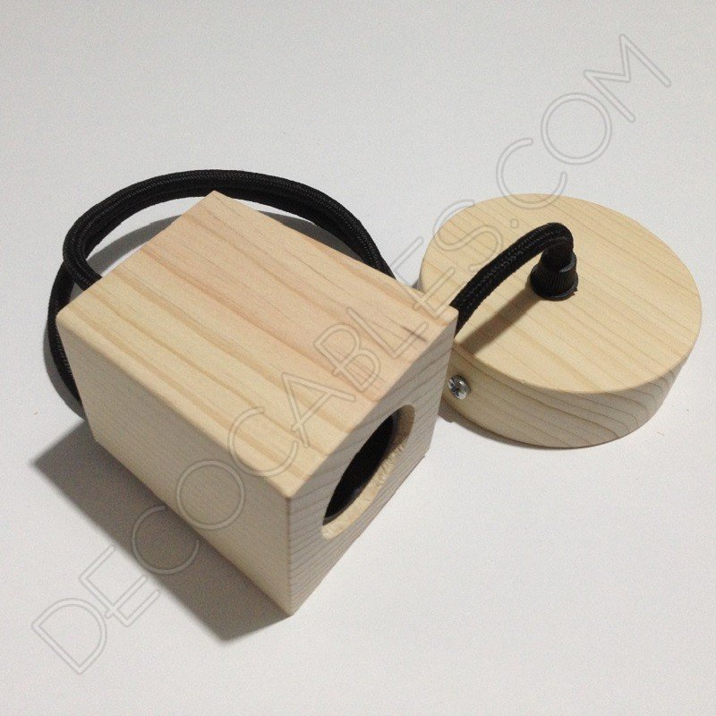 L mpara colgante de madera natural modelo pir mide for Modelos de lamparas