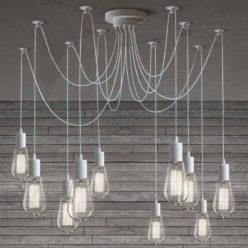 Lámpara araña de techo de color blanca de 10 brazos