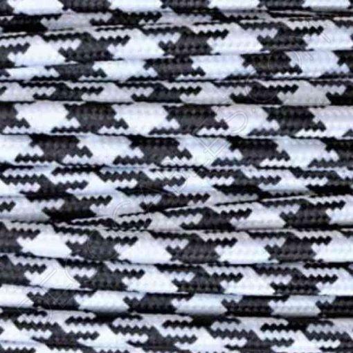 Cable eléctrico redondo vintage de tela de color blanco y negro jaspeado