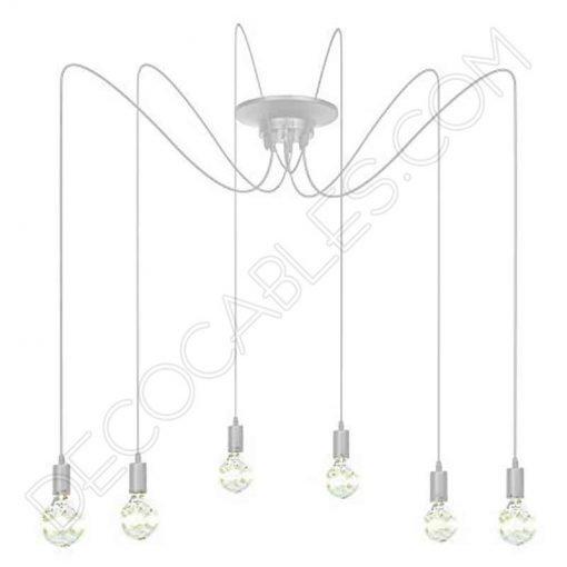 Lámpara araña de techo de color blanca de 6 brazos