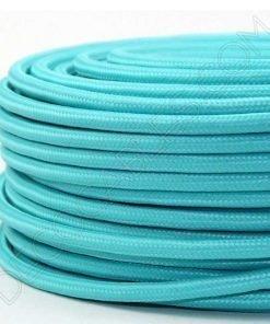 Cable eléctrico redondo de tela de color azul turquesa